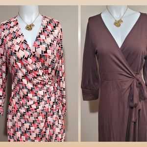 2 Gently Worn Wrap Dresses Pinks and Brown